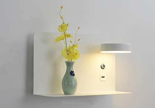 Creatieve LED-wandlamp Nachtkastje USB-telefoonoplader Moderne slaapkamer Leeslamp Hotel Wandlampen Decoratief, wit