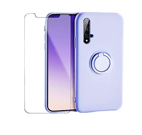 Handyhülle Kompatibel Mit Huawei Nova 5T Hülle Silikon, Huawei Nova 5T Hülle Grün, Schutzhülle Weich Tasche Mit 1 Panzerglas & Magnetic Car Halterung (Lila, Huawei Nova 5T)