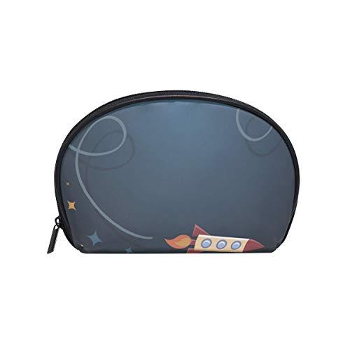 Trousse de maquillage avec fermeture à glissière pour sac cosmétique Embrayage Étoile Rocket Track Pochette de rangement de voyage Carré pour les femmes dame