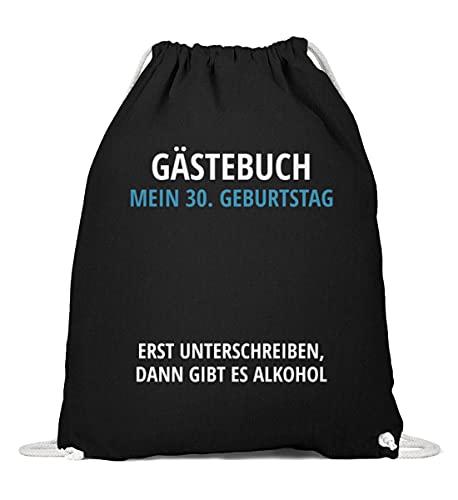 Enomis Gästebuch Geburtstag 30 - Baumwoll Gymsac -37cm-46cm-Black