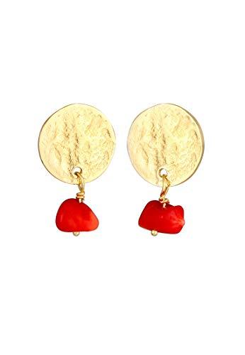 Elli Ohrringe Damen Plättchen Vintage Koralle aus 925 Sterling Silber Vergoldet