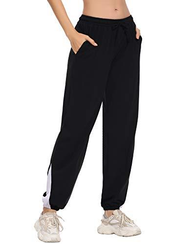 Irevial Pantalones para Mujer de 100% Algodon,Pantalon de Elásticos Cintura Alta de...