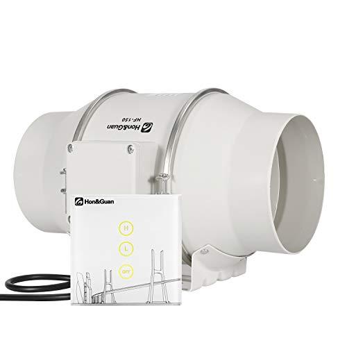 Hon&Guan Estrattore d'aria Silenzio a Flusso Misto 150mm - Aspiratore Ventilatori Bagno con Controller Wireless (ø150mm Aspiratore)
