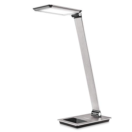 Eye-Care LED Metal Desk Lamp, Modern Full-Spectrum 13W Office Lamp with 3 Modes and 5 Brightness Levels, Linkind Touch Control Dimmable Table Lamp, with USB Quick Charging Port, Auto Timer, Grey