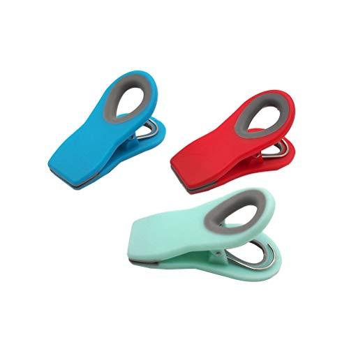 BESTonZON 3 Stück Magnetclips Lebensmittel Verschlussclips Verschlussklammern Tütenclips Kunststoff Magnetische Clips für Tüten Snack Beutel Kühlschrank (Rot/Blau/Mintgrün)