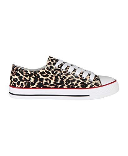 KRISP Zapatillas Mujer Tipo Estilo Imitación Casuales Lona Cordones Baja Alta Puntera Goma, (Leopardo (2345), 39 EU (6 UK)), 2345-LEO-6