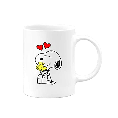 Charlie Brown Peanuts Snoopy and Woodstock Love Coffee Mug   11 ounce cup   Serenity Home Goods   Cute Gift