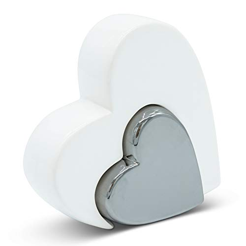 FeinKnick stilvolles Doppelherz zur Deko - modernes Keramik Herz in Silber & Weiß als Dekoration- Herzform Set gut als Geschenk oder Liebes-Symbol geeignet