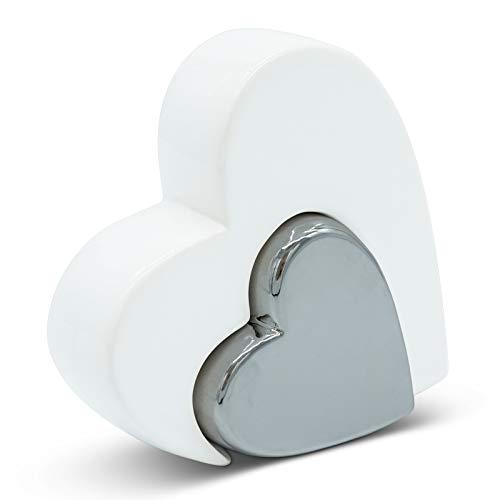 FeinKnick Corazón doble elegante para decoración – moderno corazón decorativo de cerámica en blanco y plata como juego – forma de corazón adecuado como regalo o símbolo de amor