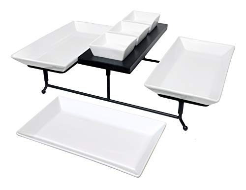 The Most Versatile 3 Tier Serving Tray Collapsible metal stand with 3 large plates and 3 bowls on black wood base Tiered party food server display for appetizers cupcakes fruit cheese desserts