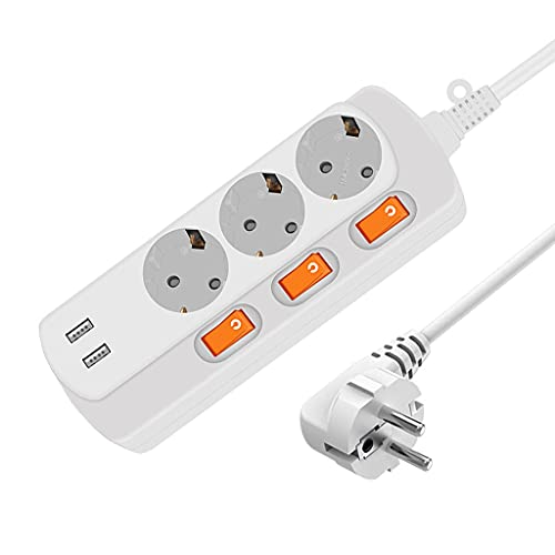 YWSZJ Socket de Enchufe Europeo 16A 250V Outlet Eléctrico 2USB Puerto 5V 2A 3AC Sockets de la UE Switche Individual 150cm / 300cm Cable de extensión (Color : 150cm)
