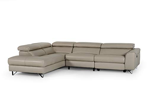 Limari Home Luciano Collection Modern Eco-Leather Upholstered Living Room Sectional Sofa