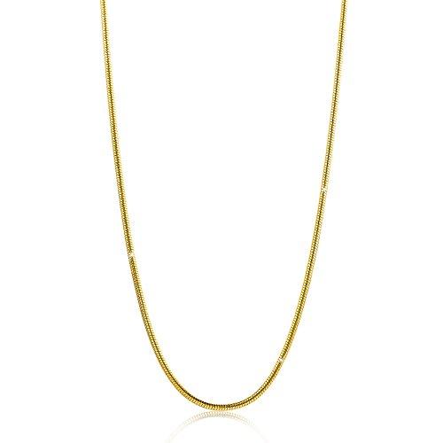 Orovi Damen Schlangenkette Halskette 8 Karat (333) GelbGold Schlange kette Goldkette 0,9mm breit 45cm lange