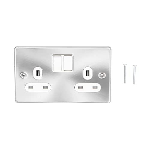 Enchufe de pared Tomacorriente eléctrico decorativo Receptáculo estándar británico doble con interruptor Accesorios de fuente de alimentación 250V 13A