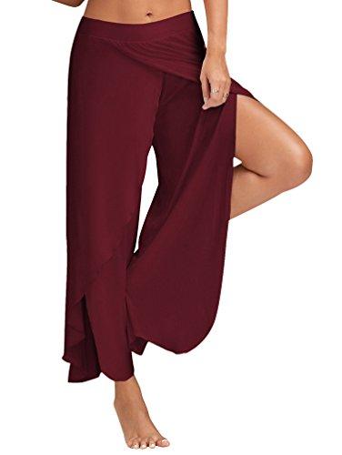 YuanDian Mujer Verano Casuales Color Sólido Alto Split Anchos Largo Pantalones De Yoga Pernera Ancha Fluido Baggy Palazzo Pantalon Vino Rojo 5XL
