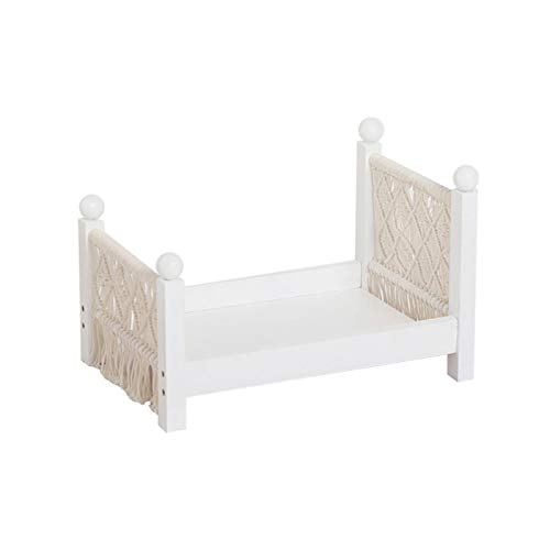 POHOVE Baby Photography Props Wooden Bed,Modern Woven Detachable Cot Baby Photography Props,Newborn Props Photography Cot,Studio Photography Props Background