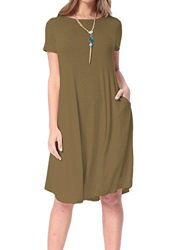 Levaca Womens Short Sleeve Pocket Draped Swing Loose Casual Flared Midi Dress