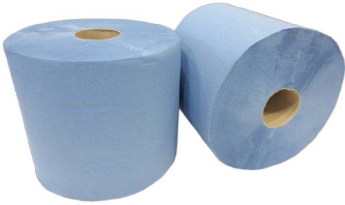 2x Putzrolle blau 2-lagig gesamt ca. 1000 Blatt ca. 22x38 cm perforiert saugstark Reinigungstücher Putzpapier Wischtücher