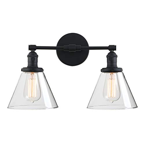 Phansthy 2-Light Industrial Wall Light Black Wall Sconce Light Fixture with Dual 7.3 Inches Cone Clear Glass Canopy(Black)