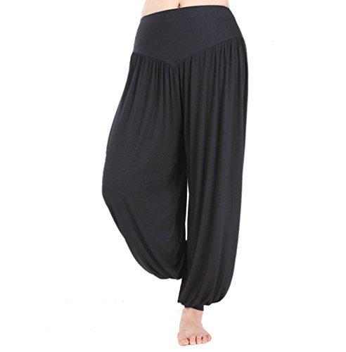 Hoerev - Pantalón tipo harén para yoga o pilates, tejido elástico de modal muy suave, Negro, X-Large