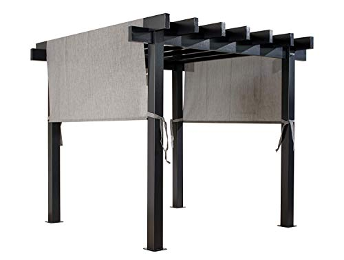 Sojag 10' x 10' x 8' Yamba Outdoor Backyard Pergola Square Shaped Gazebo, 10' x 10', Dark Grey