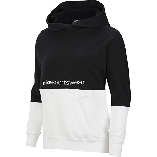 Nike Damen Sportswear Archive Remix Hoodie, Black/White/White, XL
