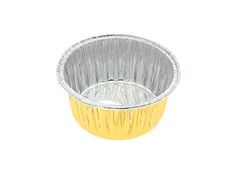 KEISEN Einweg-Aluminiumfolienförmchen für Muffins, Kuchen, Quiche, runde Brot, Kastenform, Ofen, Cupcake, Backen, Utility-Auflaufförmchen (Gold)
