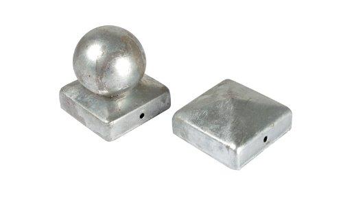 10 x Pfosten Kappe / Abdeckung für Zaunpfosten 7 x 7 cm rund in Kugel Form aus Stahl, verzinkt zum günstigen Aktionspreis