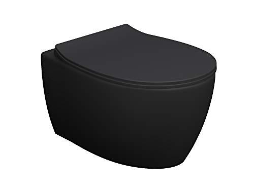 Aqua Bagno Spülrandloses Hänge-WC inkl. WC-Sitz | Keramik anthrazit matt | Wand-WC | WC-Set