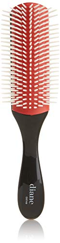 Diane 9-Row Professional Styling Brush – Nylon Pins for Thick or Curly Hair – Use with Wet Hair and Distributing Conditioner or Product, Blowdrying, Styling, Black and Red, D9749