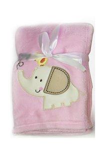 First Steps Couverture mignonne et douillette Idéal pour le confort de bébé Motif éléphant Rose