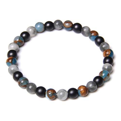 Anime DIY Handmade 6mm Natural Turquoises Stone Beads Bracelet Fashion Malachite Lapis Lazuli Energy Beads Bracelet Women Men Yoga Jewelry,2,23CM