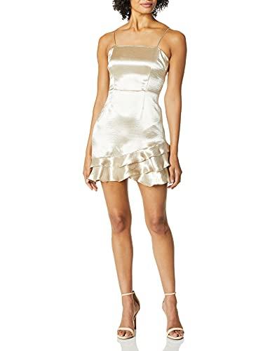 BB Dakota Women's Flawless Metallic Ruffle Dress, Silver, 10