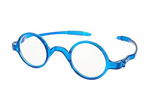 MFAZ Morefaz Ltd Damen Herren Lesebrille Runden Brille Retro Vintage +0.50 +0.75 +1.0 +1.5 +2.0 +2.5 +3.00 +4.00 Reading (4.00, Blue)