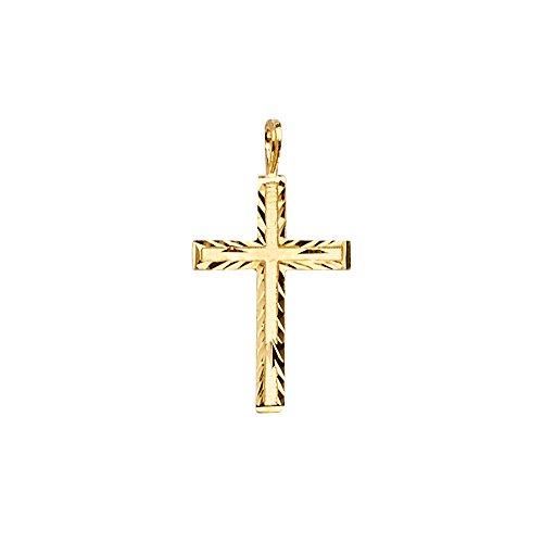 14k Yellow Gold Cross Religious Charm Pendant (Size : 22 x 12 mm)