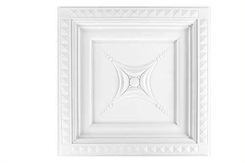 1 baldosa para techo de rejilla de techo decorativos de estuco interior de la decoración de la decoración a prueba de golpes 60 x 60 cm, R4042