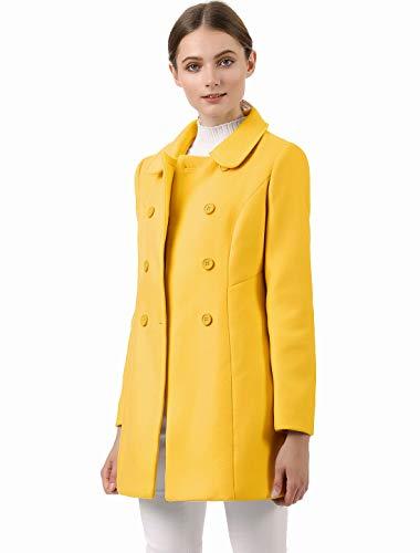 Allegra K Abrigo Collar Peter Pan Trench Doble Botonadura de Mujer Amarillo Mostaza L