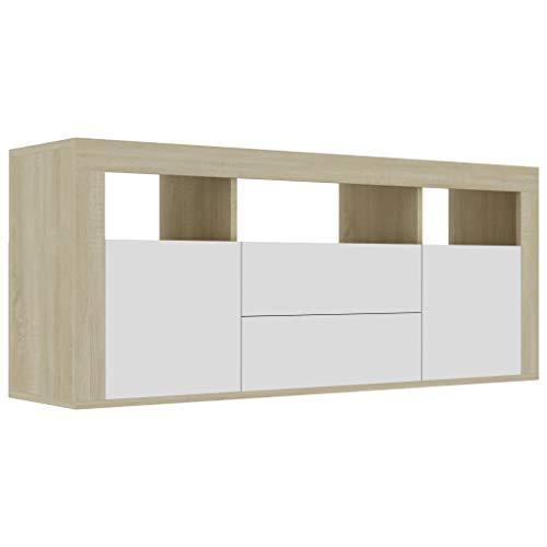 vidaXL TV Schrank mit 2 Schubladen 2 Türen 3 Fächern TV Möbel Lowboard Sideboard Fernsehtisch Fernsehschrank HiFi Weiß Sonoma-Eiche 120x30x50cm Spanplatte