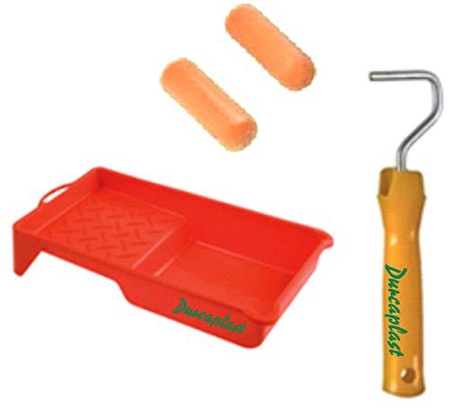Juego de rodillos de pintura con mango y bandeja: Cubeta de plástico con 2 rodillos de piel de melocotón. Recomendado para esmaltar y lacar superficies lisas y semi-lisas metálicas o de madera.