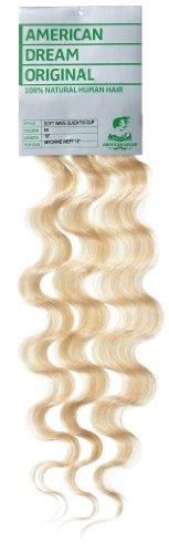 American Dream - A4/QFC12/18/60 - 100 % Cheveux Naturels - Douce Ondultation - Pièce Unique Extensions à Clipper - Couleur 60 - Blond Pur - 46 cm