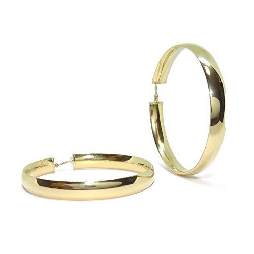 Pendientes aros muy grandes de oro amarillo de 18k de 6mm de anchos y 4.4cm de diámetro exterior. Peso; 6.10gr de oro de 18k