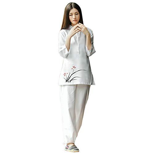 KSUA Vestito da Meditazione Zen da Donna Completo da Tai Chi Abbigliamento Kung Fu Cinese Completo da Yoga in Cotone e Lino, Orchidea EU S/Etichetta M