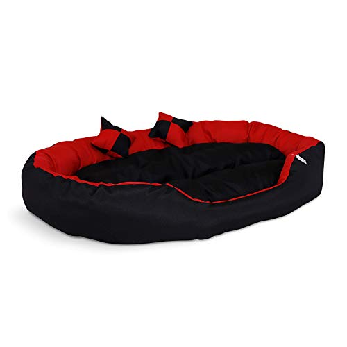 dibea Cama para Perros 4 en 1, con cojín Reversible (110 x 80 cm), Color Rojo y Negro