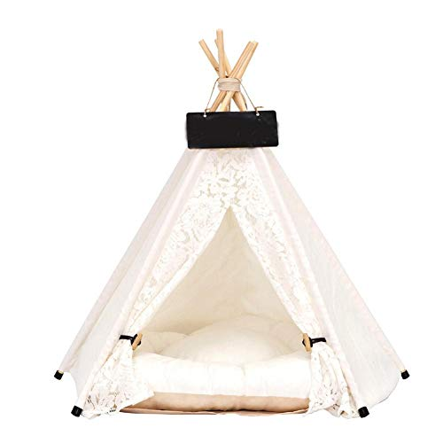Zhuotop Lace Pet Tent Dog Bed Cat Tipi Kennels Removable Washable Pet Teepee Play House (With Cushion), Small