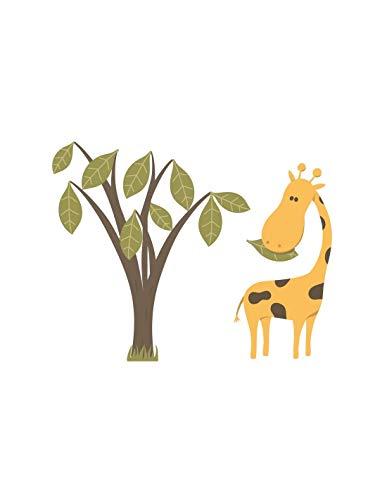 Sticker enfant : Girafe et son arbre - Format : 45 x 36 cm