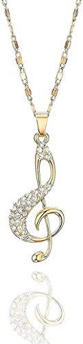 Yiffshunl Collar Moda Nota Musical Collares Colgantes Cadena de Oro Gargantillas Accesorios de Mujer Circón Boda Collar de Cristal Joyería Regalo Presente Chica Joven