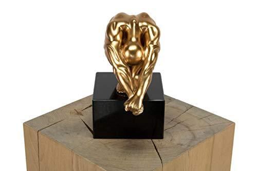 KunstLoft® Skulptur 'Don't give up' 20x23x13cm | Moderne Kunststein-Figur | Figur Mann Deko Gold Schwarz | Statue als Unikat - Handgefertigtes Kunstwerk | Schöne Wohnzimmer-Dekoration