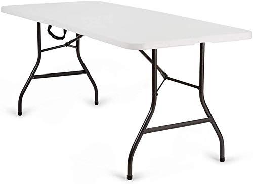 Nestling® Tavolo Pieghevole da Giardino Bianco Perfetto Come Tavolo da Campeggio, da Buffet, da Cucina | Tavolino Esterni Richiudibile a Valigetta con Maniglia | Heavy Duty Tavolo (Tavolo 1,8 m)