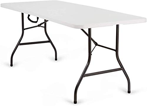 Nestling Folding Garden Table White Perfect as a Camping Buffet Kitchen Table | Outdoor Side Table with Handle | Heavy Duty Table (1.8 m Table)