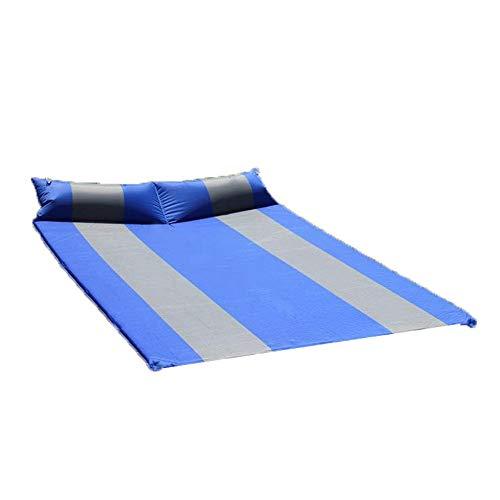 DLSMB-SP Zelfopblaasbare matras voor buiten, compact schuimrubber, dubbel, zelfopblaasbaar campingkussen met bevestigd kussen, gering gewicht, waterdicht voor 2 personen